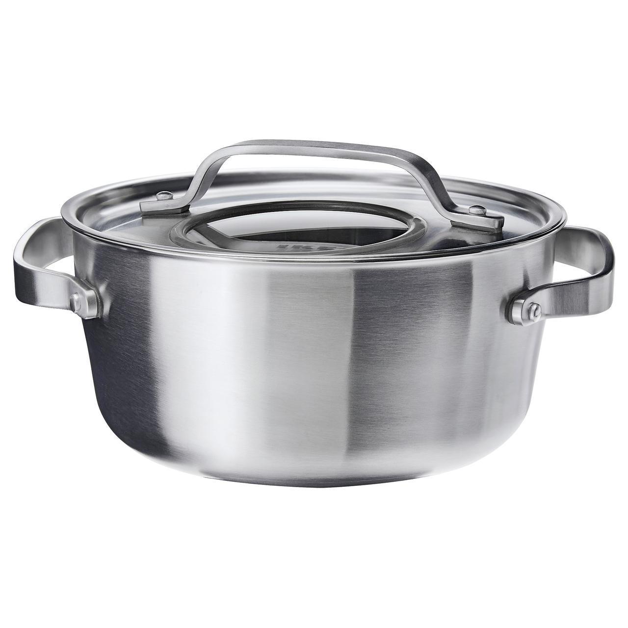✅ IKEA SENSUELL (103.245.46) Кастрюля с крышкой нержавеющая сталь, серый