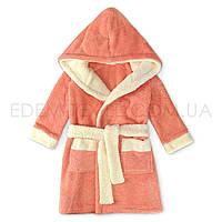 Теплый детский халат для девочки с капюшоном Wiktoria 351, Персиковый, Рост 122 (6-7 лет)