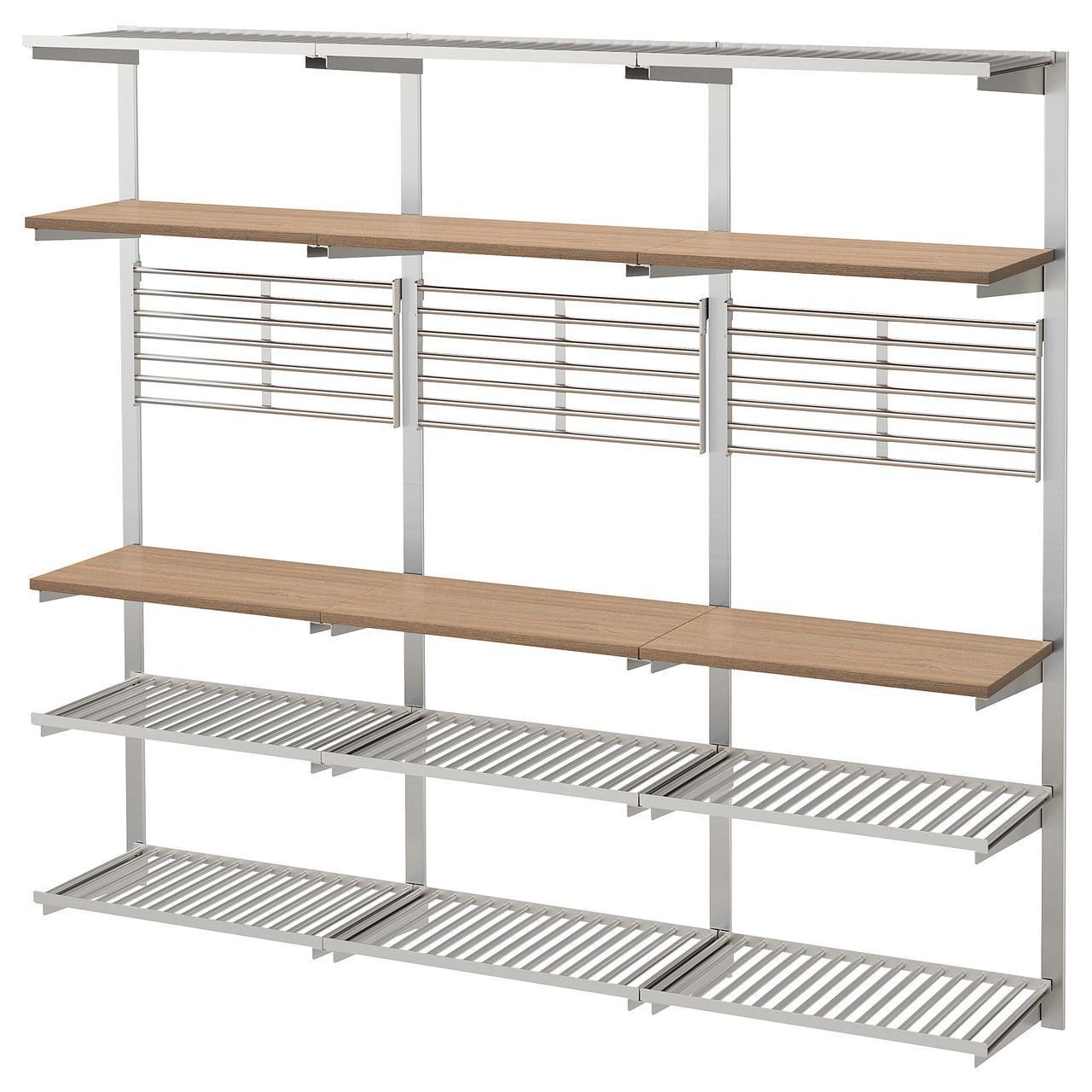 ✅ IKEA KUNGSFORS (292.543.41) Рейлинг с полкой/решеткой, нержавеющей сталью, золой