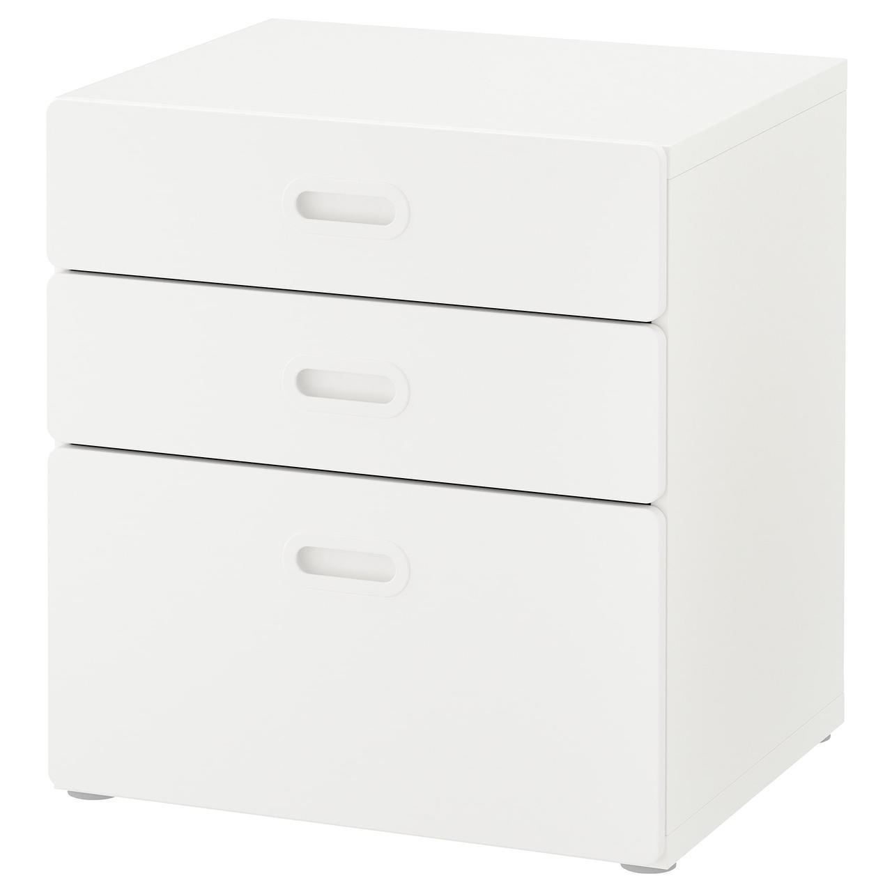✅ IKEA STUVA / FRITIDS (092.526.73) Комод, 3 ящика, белый, красный