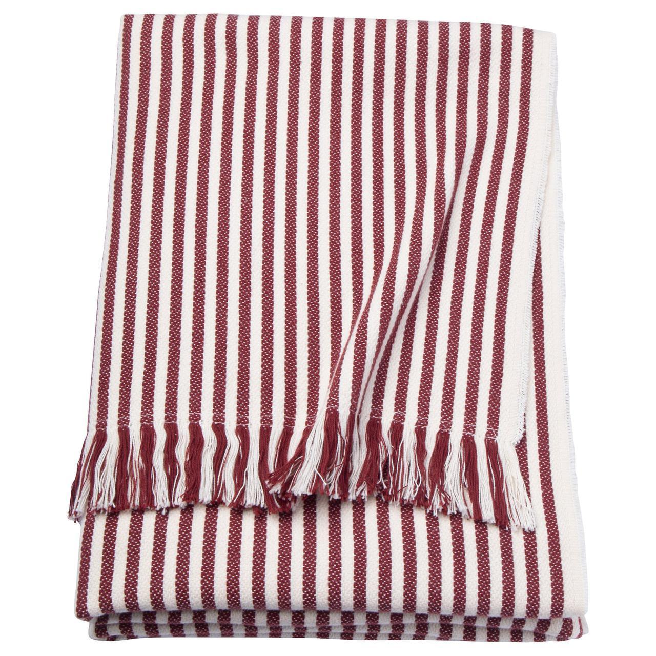 ✅ IKEA TUVALIE (103.522.90) Плед, полосатый белый, красный