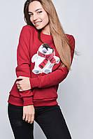 """Модный зимний женский свитшот на флисе """"Пингвинчик"""" - темно-синий, красный, серый"""
