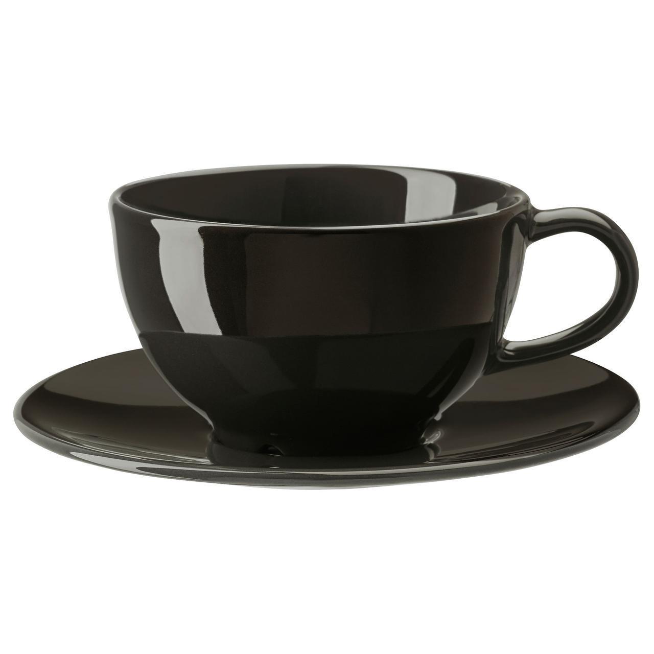 ✅ IKEA VARDAGEN (302.892.88) Чашка чайная с блюдцем темно-серый