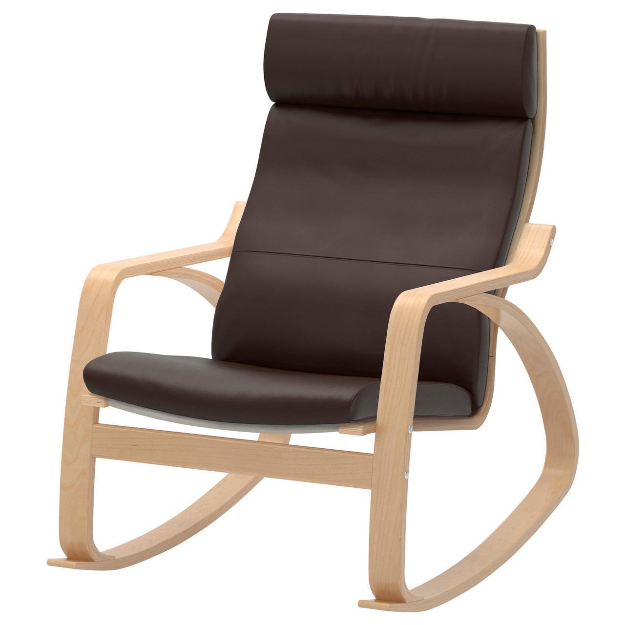 ✅ IKEA POANG (498.610.07) Качающийся стул, ok birches, Robust Glose ecru