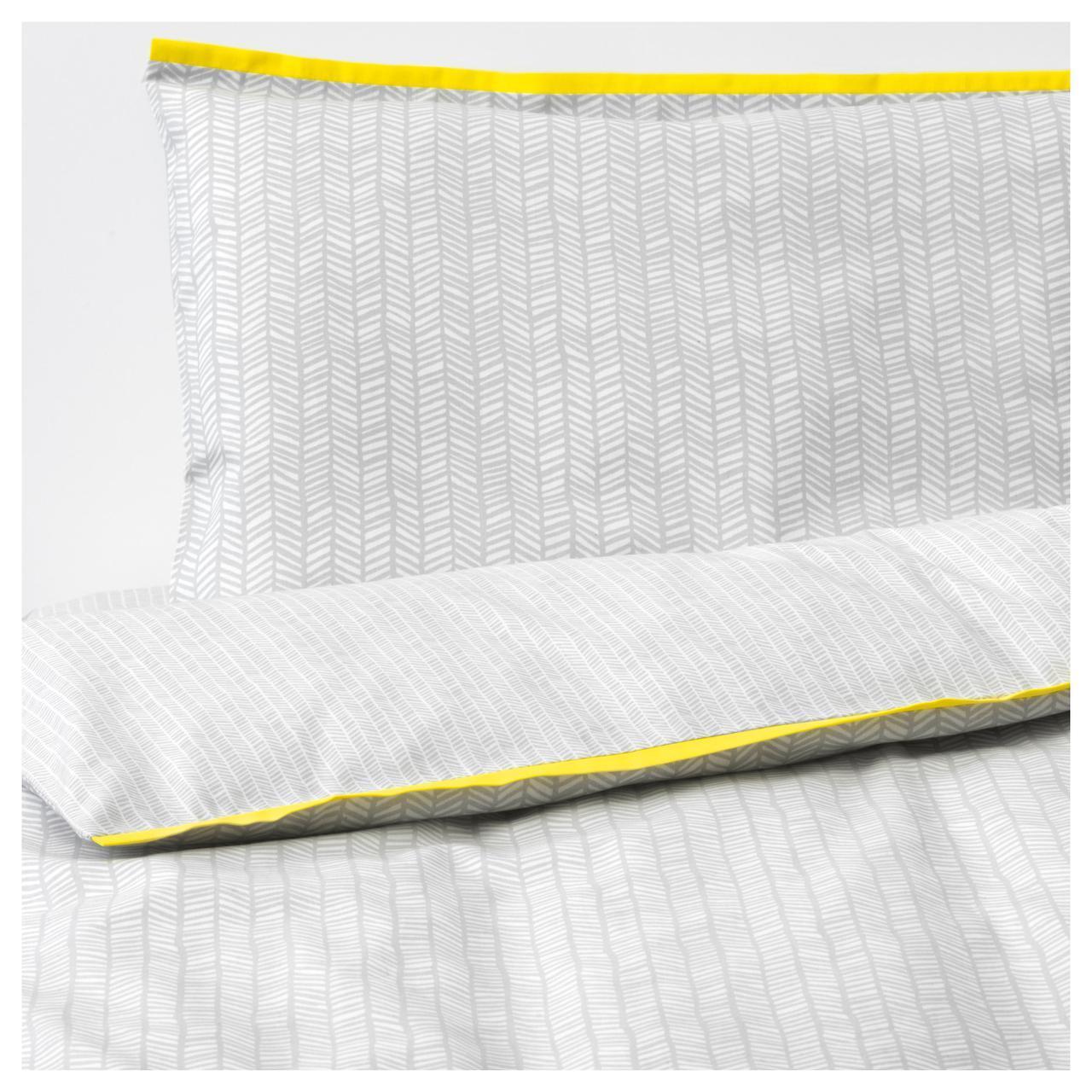 ✅ IKEA KLAMMIG (203.731.93) Постельное белье для кровати, 3 шт., Серый