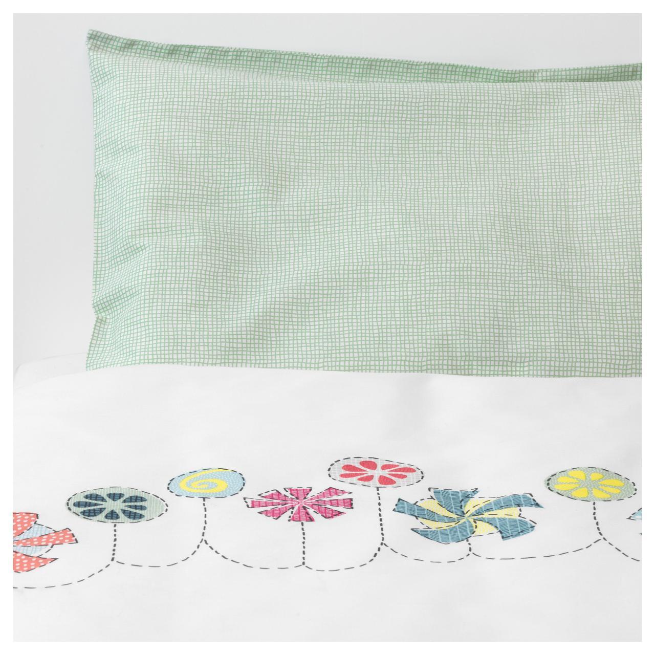 ✅ IKEA BUSSIG (903.654.39) Комплект постельного белья для ребенка, разноцветный, зеленый