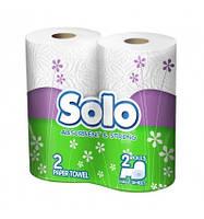 Полотенце бумажное в рулоне белое/ SOLO, 2 шт.