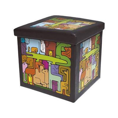 """Детский раскладной пуф Украинский дом с рисунком """"Мозаика"""" Черный"""