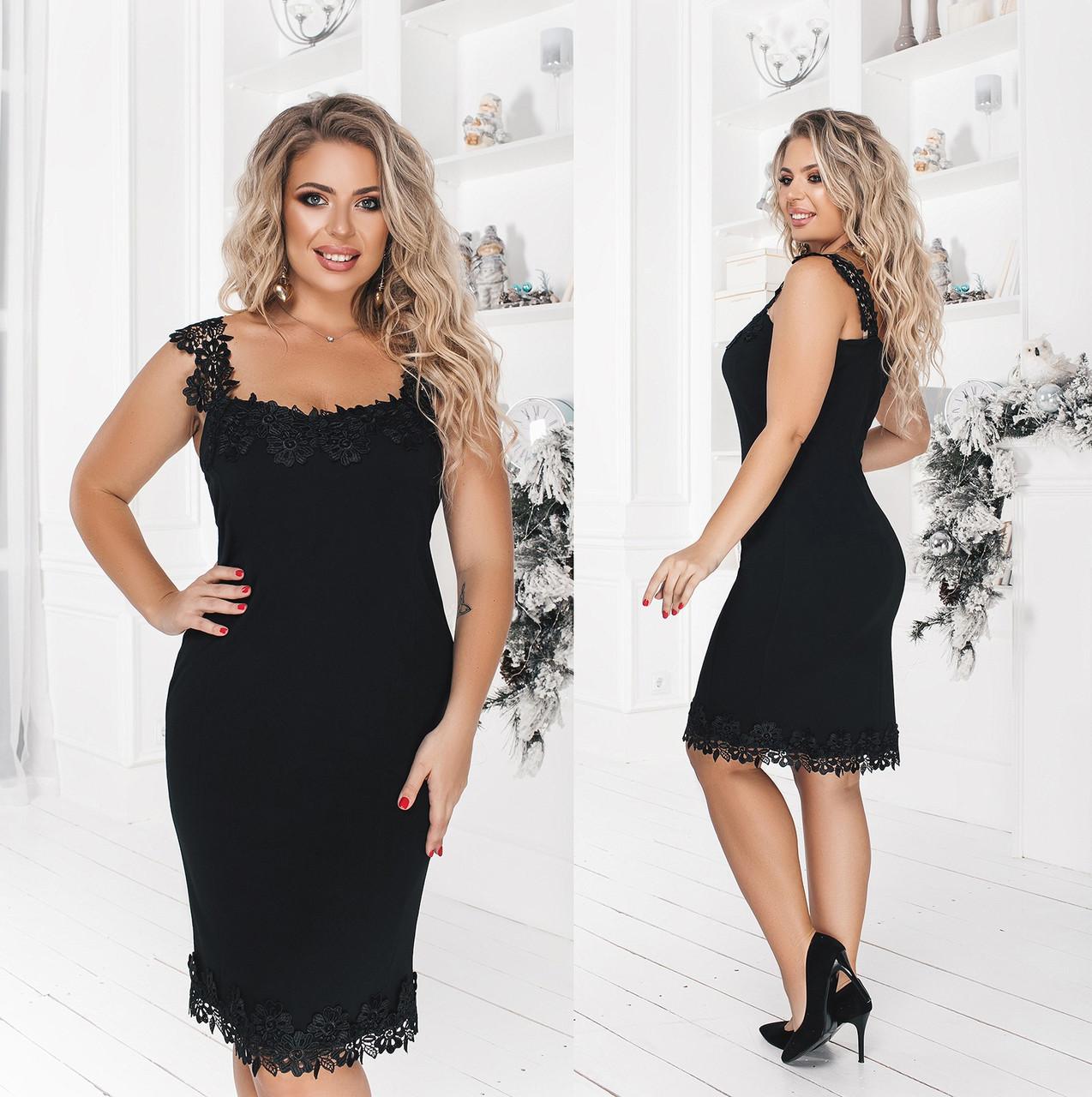 """Вечірня жіноча коротке плаття у великих розмірах 3089 """"Міні Макраме"""" в кольорах"""