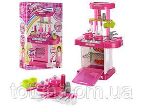 Кухня розовая трансформер-чемодан 12 предметов со звуком и светом 008-58. Игровая детская