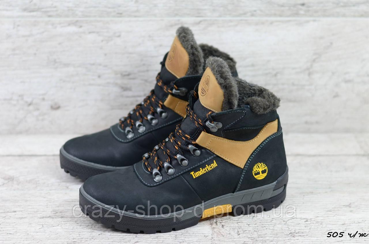 Мужские кожаные зимние ботинки Timderlеnd (Реплика) (Код: 505 ч/ж  ) ►Размеры [41,42]