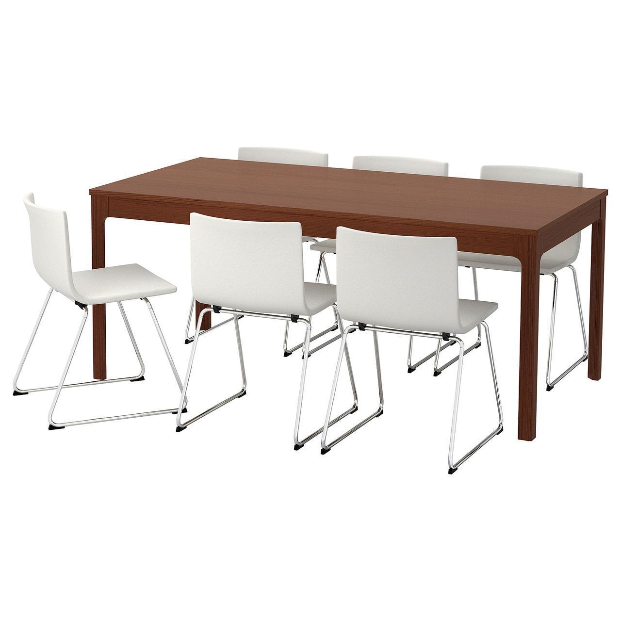 ✅ IKEA EKEDALEN / BERNHARD (692.292.17) Стол и 6 стульев, коричневый, мюк белый
