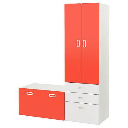 ✅ IKEA STUVA / FRITIDS (892.530.51) Шкаф со скамейкой, белый, красный