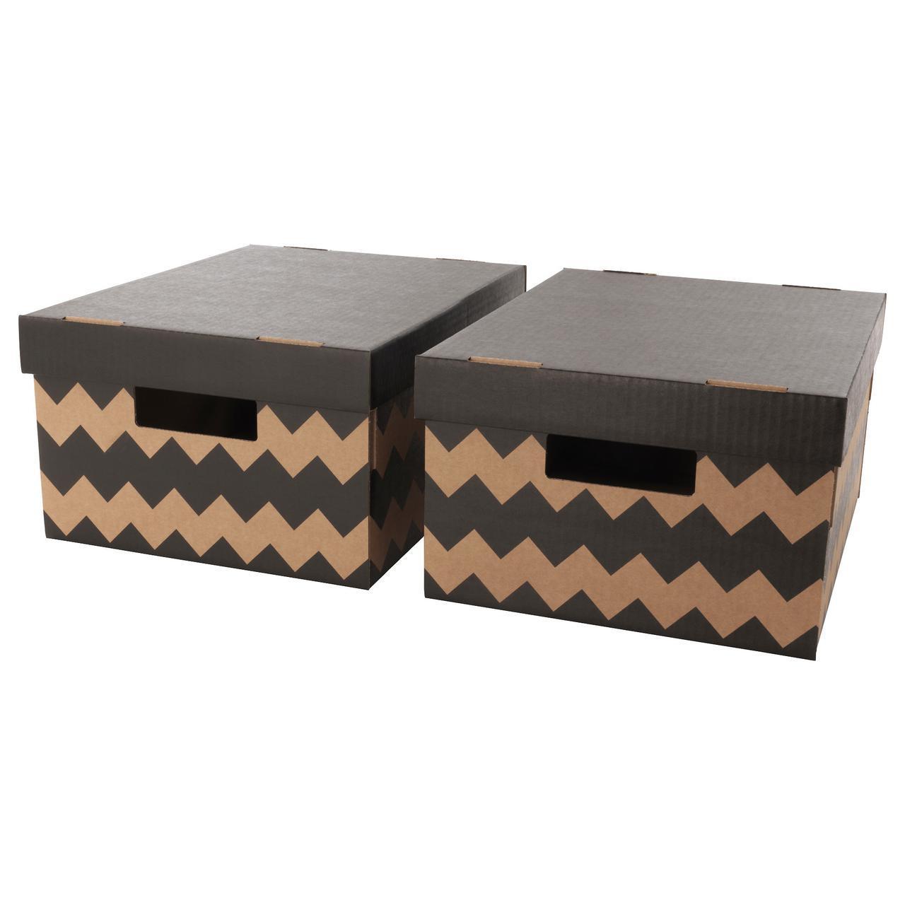 ✅ IKEA PINGLA (603.241.34) Коробка с крышкой, черная, натуральная
