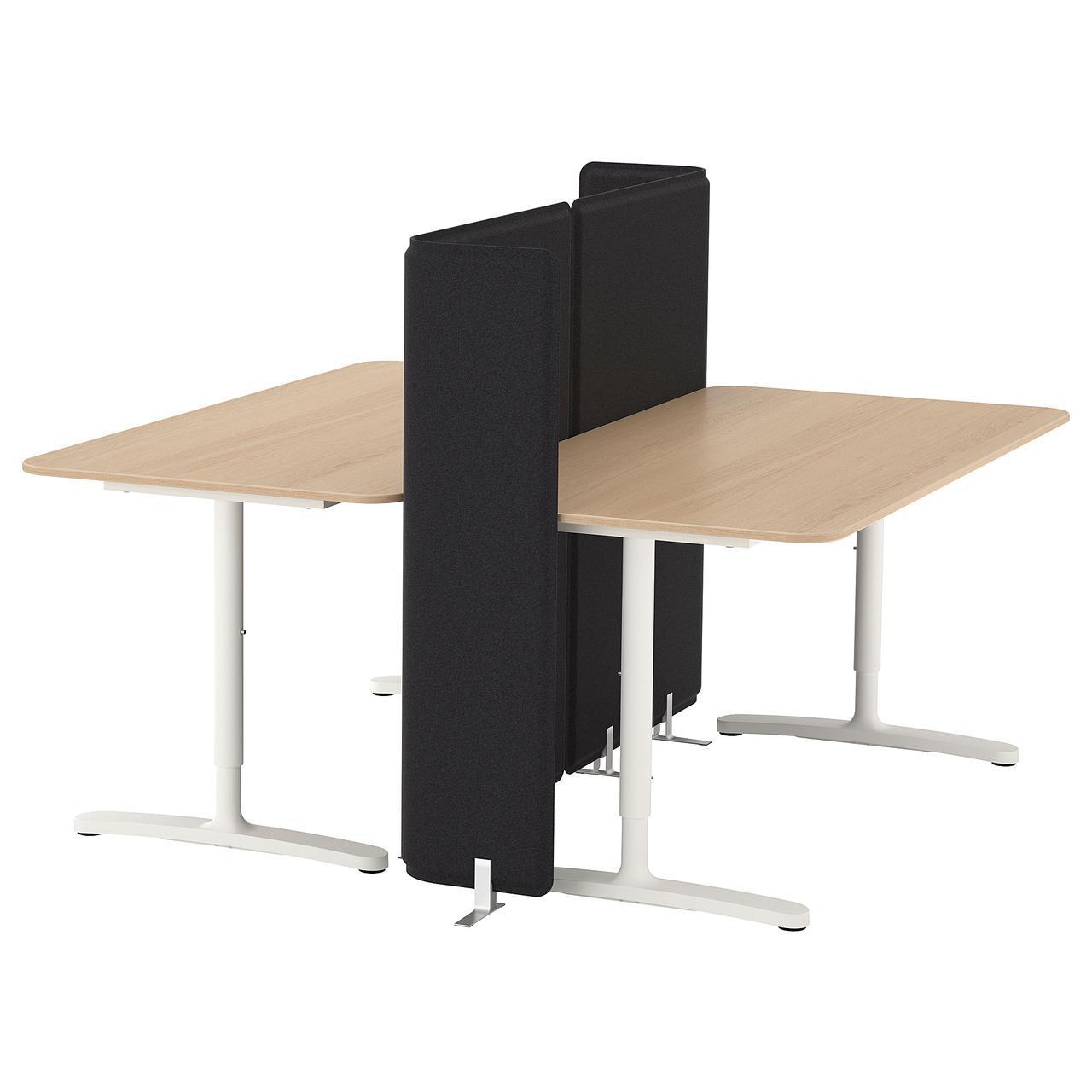 ✅ BEKANT Рабочий стол с экраном, okl jesionowa × черный, белый