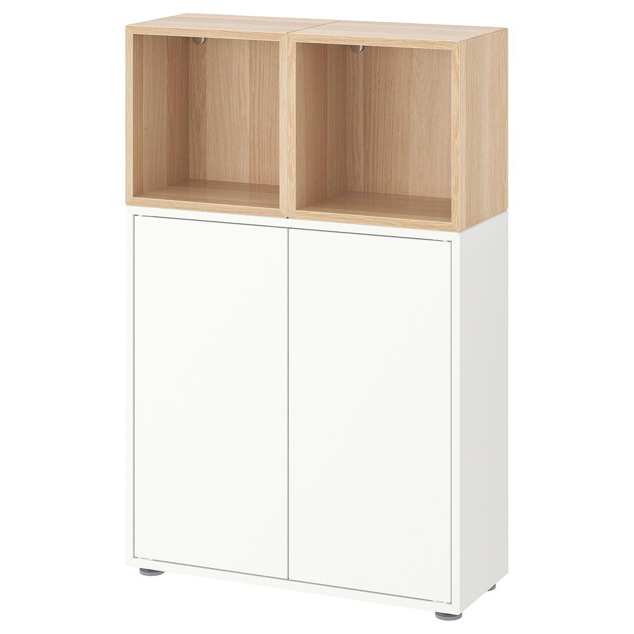 ✅ EKET Комбинация шкафов на ножках, белый, дуб bejcowany на бело