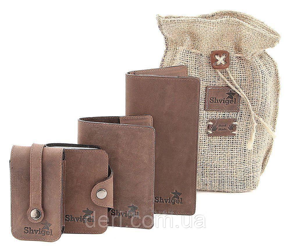 Оригинальный набор из кожаных аксессуаров SHVIGEL , Коричневый