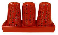 Набор на подставке соль/перец/подставка для зубочисток (красный) Mitsui 24-21-219