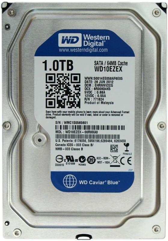 Накопитель HDD SATA 1.0TB WD Blue 7200rpm 64MB (WD10EZEX) Восстановленный