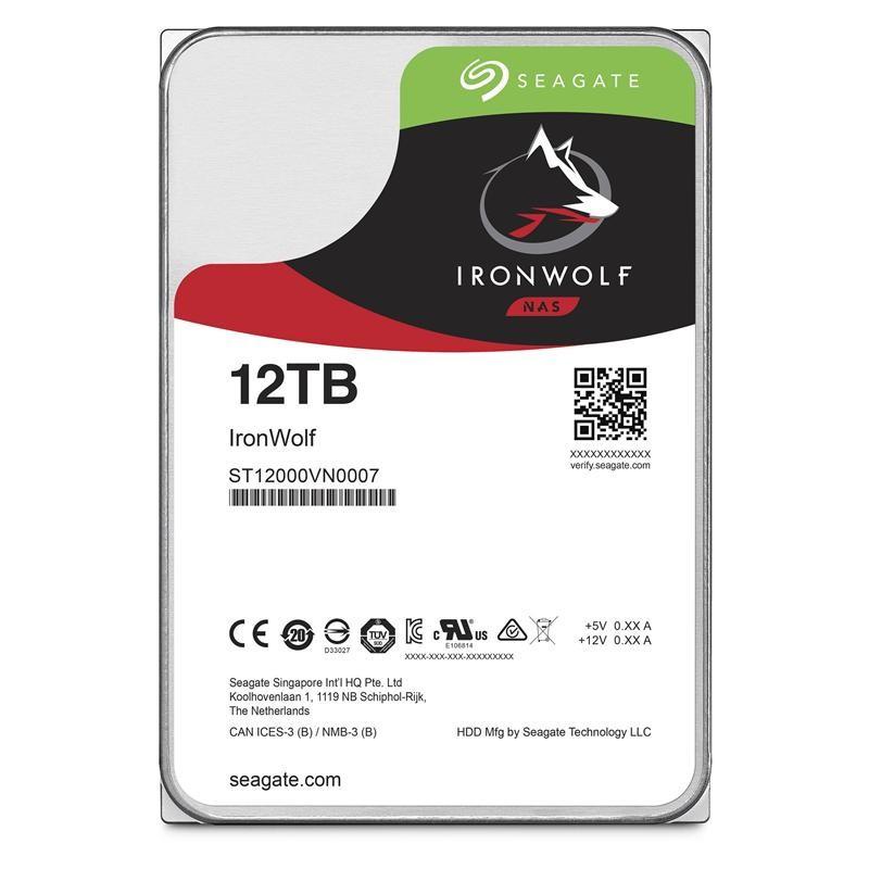 Накопитель HDD SATA 12.0TB Seagate IronWolf NAS 7200rpm 256MB (ST12000VN0007)