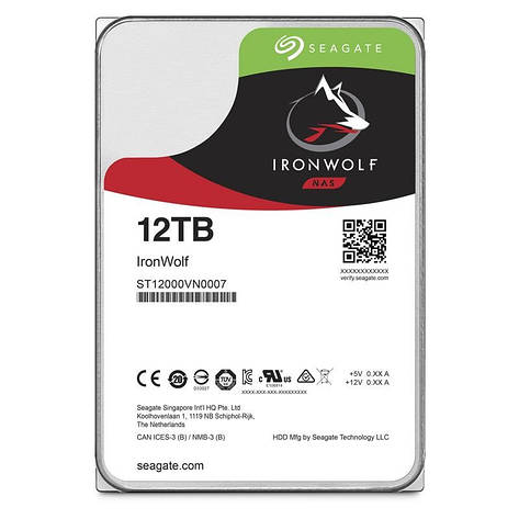 Накопитель HDD SATA 12.0TB Seagate IronWolf NAS 7200rpm 256MB (ST12000VN0007), фото 2