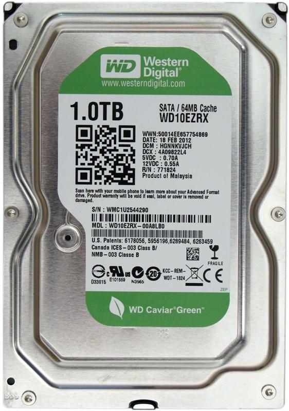 Накопитель HDD SATA 1.0TB WD Green 5400rpm 64MB (WD10EZRX) Восстановленный