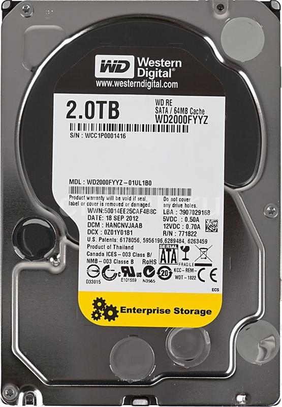 """Накопитель HDD 3.5"""" SATA 2.0TB WD Re 7200rpm 64MB (WD2000FYYZ) Восстановленный"""