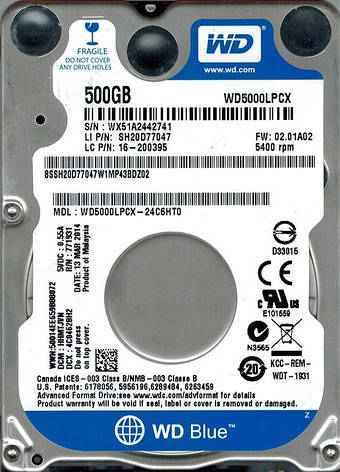 "Накопитель HDD 2.5"" SATA 500GB WD Blue 5400rpm 16MB (WD5000LPCX) Восстановленный, фото 2"