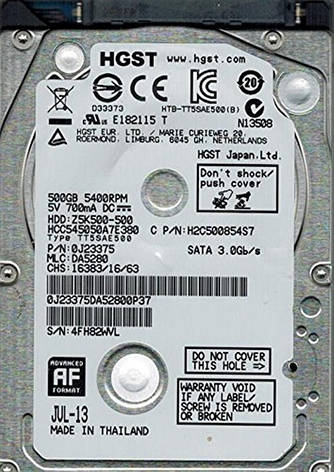 "Накопитель HDD 2.5"" SATA 500GB Hitachi (HGST) CinemaStar Z5K500 5400rpm 8MB (HCC545050A7E380) Восстановленный, фото 2"