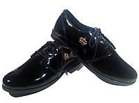 Туфли женские комфорт натуральная лаковая кожа черные на шнуровке (906)