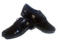 Туфли женские комфорт натуральная лаковая кожа коричневые на шнуровке (906)