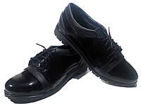 Туфли женские комфорт натуральная лаковая кожа черные на шнуровке (015), фото 1