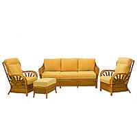 Комплект плетеной мебели Cruzo Аскания из натурального ротанга Желтый as0001-0, КОД: 741540