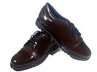 Туфли женские комфорт натуральная лаковая кожа коричневые на шнуровке (015)