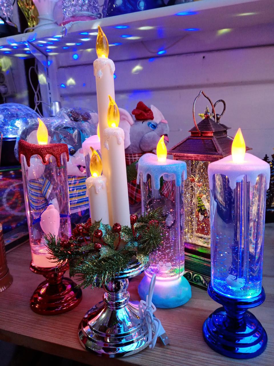 USB свеча светодиодная с блестками Sequinned Led Candle, фото 1
