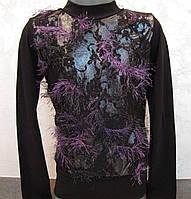 Блуза для девочек 116,128,140,152 роста Лиловая травка, фото 1
