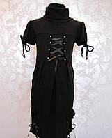 Платье для девочек Черное с переплётами