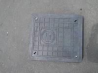 Люк прямоугольный полимерпесчаный в Запорожье нагрузка до 1,5 т. с запорным механизмом, в черном цвете, фото 1