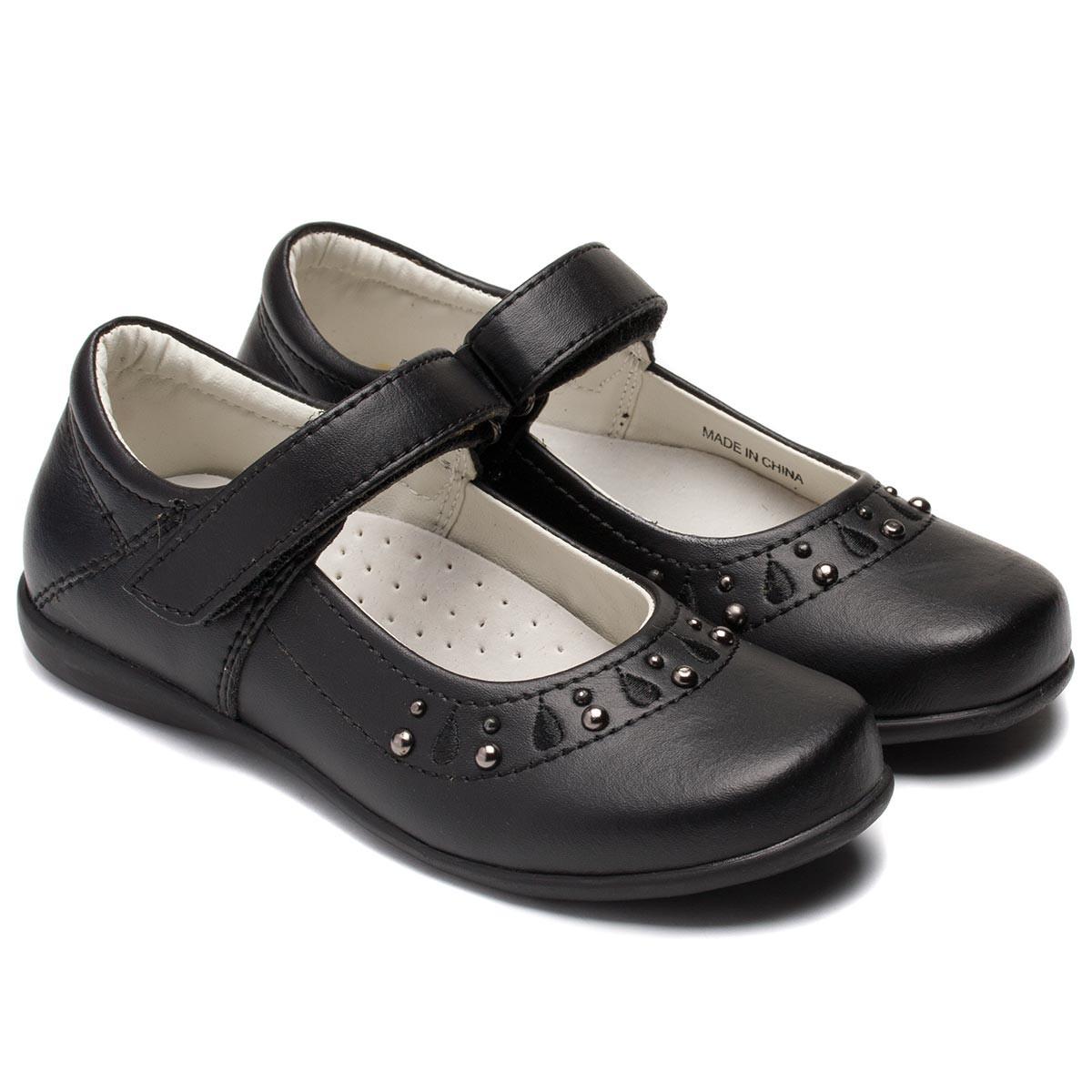 Кожаные туфли Energjy для девочек, черные на липучке, размер 28-36