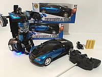 Машинка трансформер Bugatti Robot Car Размер 1:18 DEFORMATION радиоуправляемая 2 в 1 синяя
