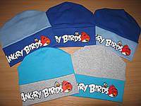 Детская шапка для мальчика трикотажная на манжете на 5-7 лет Angry Birds