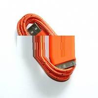 USB кабель для iPhone4,iPod,iPad 1.0м в оплетке оранжевый