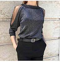 Блуза женская с вырезом универсальный рр 42-46 Черный, фото 1