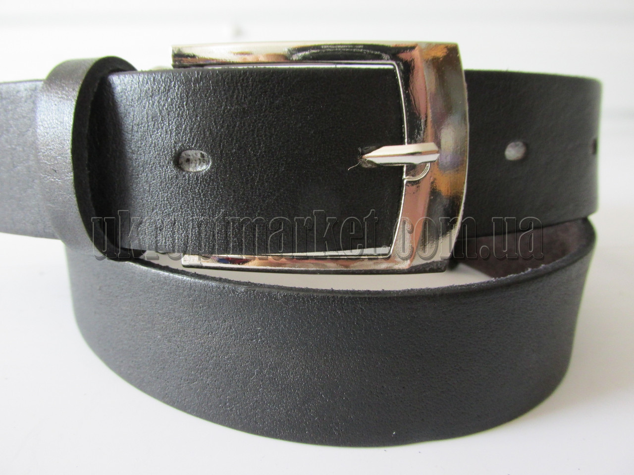 """Ремень детский с шпеньком чёрный (гладкая кожа), 30 мм. """"Remen"""" LM-638"""