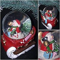 "Статуэтка к новогодним праздникам ""Снежный шар со снеговичком"", диам. 6 см., сани 9.5х9 см., 175 грн."
