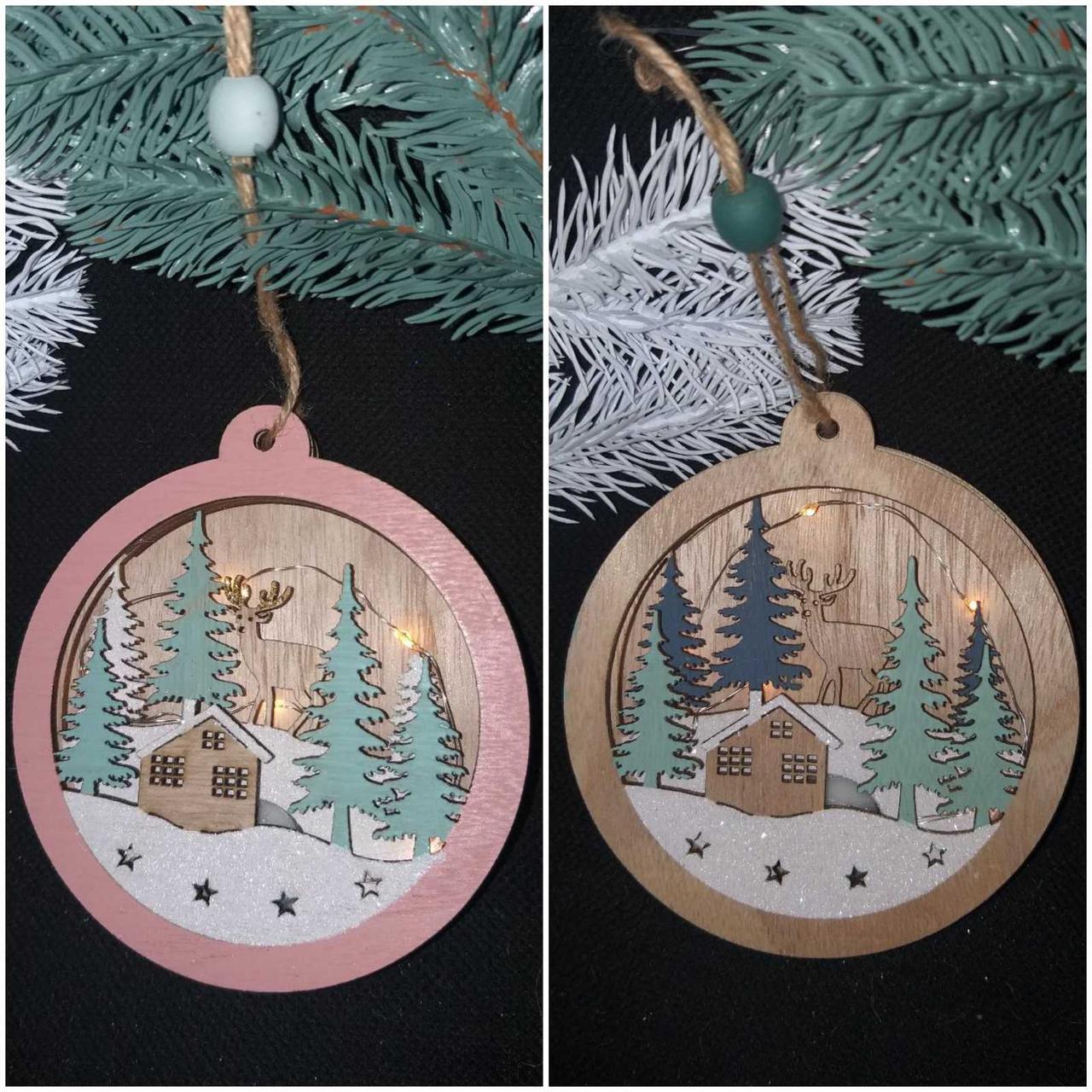 """Украшение новогоднее """"Шар"""" с лед подсветкой, 3Д, дерево, диам.13 см., 130/110 (цена за 1 шт. + 20 гр.)"""