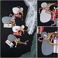 """Деревянная елочная подвеска """"Мышка с подарком"""", выс. 9 см., 30/22 (цена за 1 шт. + 8 гр.)"""