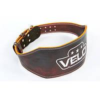 Пояс атлетический кожаный VELO с подкладкой для спины (коричневый)