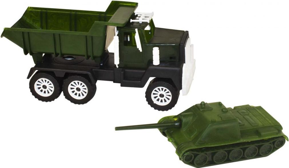 "Набор: военная машинка + танк! Детская машинка ""МАК+САУ"" Військові вантажівка та танк!"