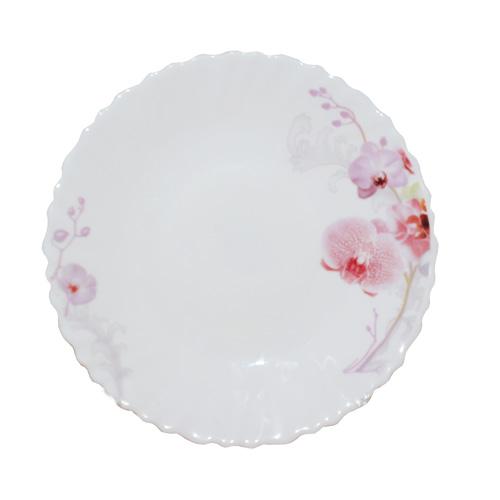 Тарілка склокераміка 19 см Рожева орхідея SNT 30070-61099